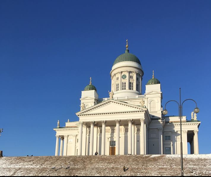 Helsinki Cathedral, Finland. Search for Northern Lights