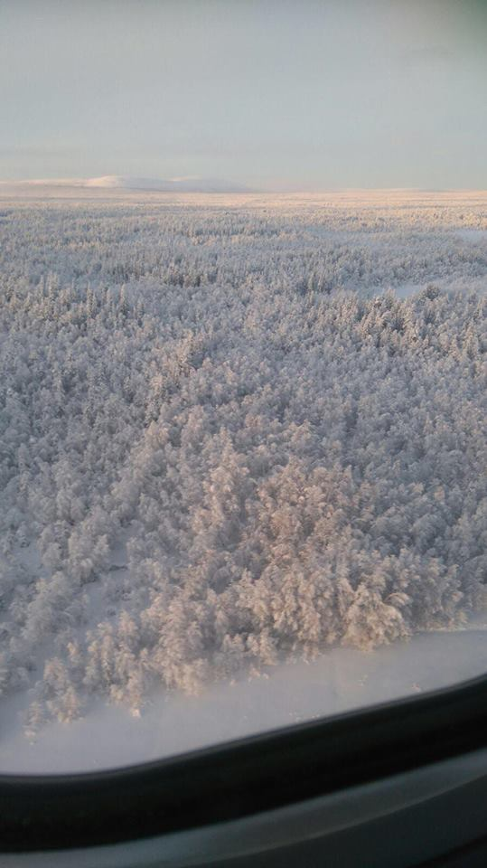 Birdseye view of Levi, Lapland, Finland. Search for Northern Lights.