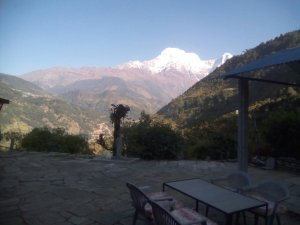 a view of the himalayas from our guest house in the morning